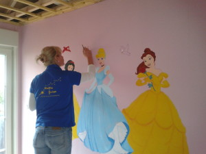Muurschildering Disney prinsessen door Niekie Kids Design